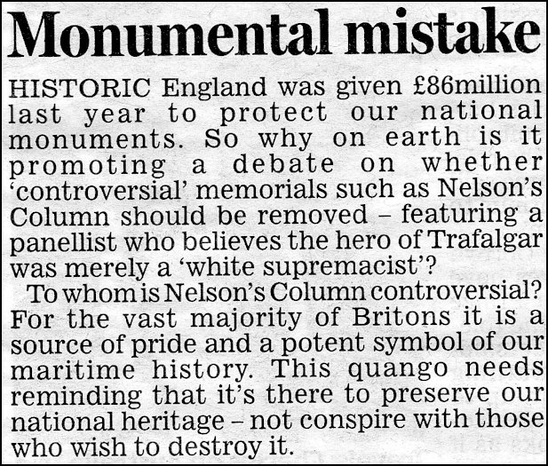 The Daily Mail Comments on the Nelson debacle