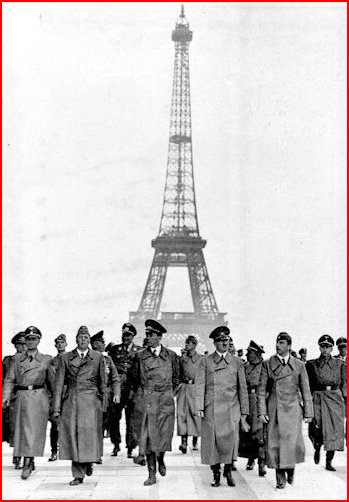 Hitler and henchmen at the Eiffel Tower