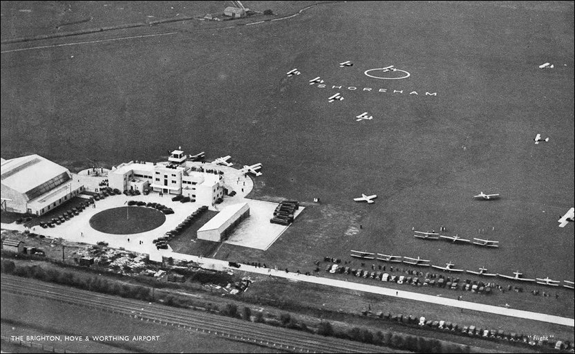 General aeriel shot of the airport and airfield in the 1930s