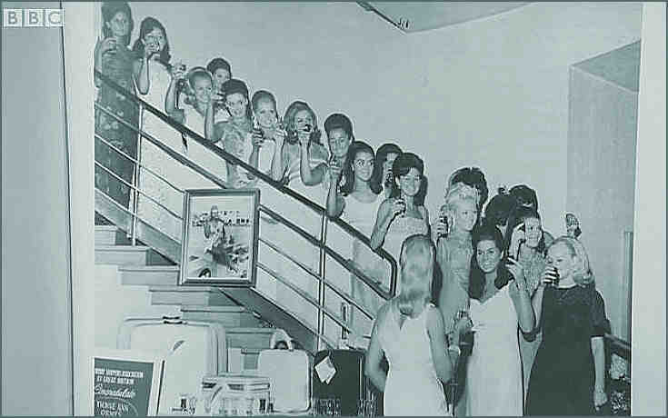Contestants for 1968 Miss Great Britain grace the stairwell