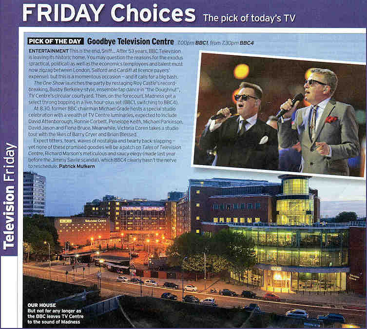 Goodby Television Centre Radio Times BBC1 and BBC4