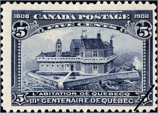 5cent stamp issued in 1908 in Canada featuring the Habitat