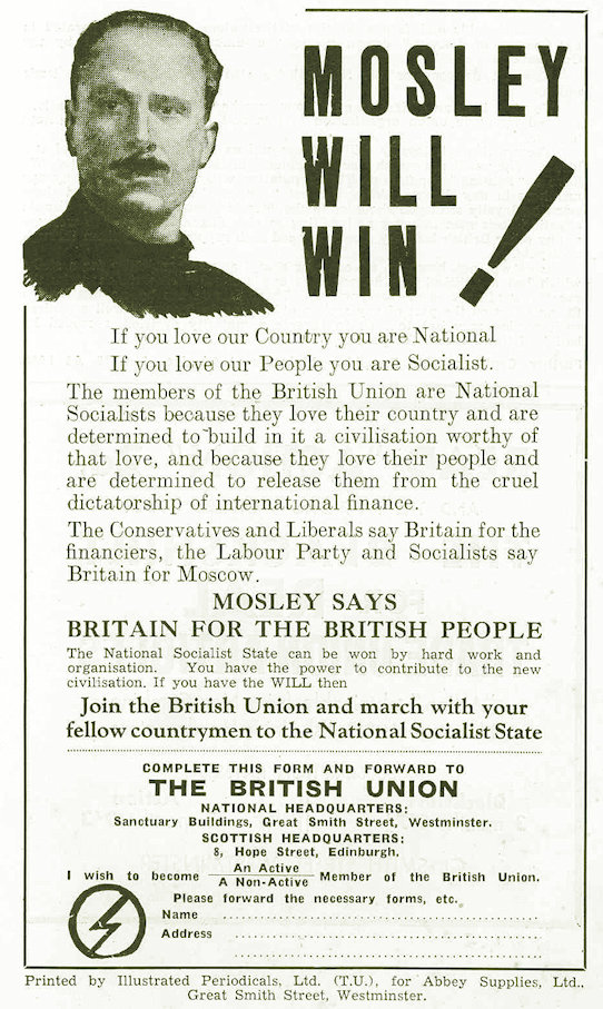 Avert on the back cover of a British Union of Fascists pamphlet entitled 'Strike Action or Power Action'