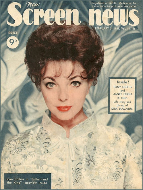 Joan Collin on the cover of Screen News in 1961