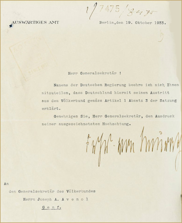 Letter to the League of Nations announcing Germany's withdrawal