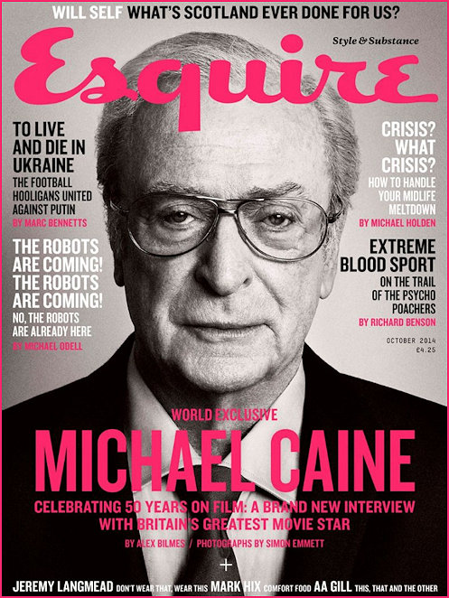 Michael Caine on the cover of Esquire Magazine October 2014