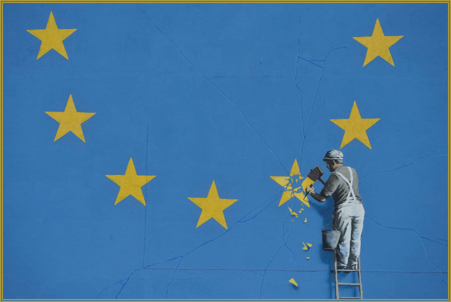 Close up detail of the Banksy Euro Artwork