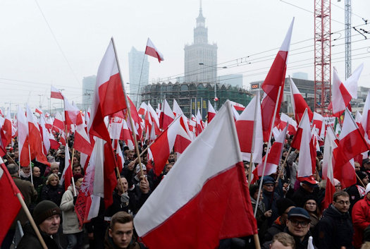 A sea of flags commemorating Poland's centenery independence