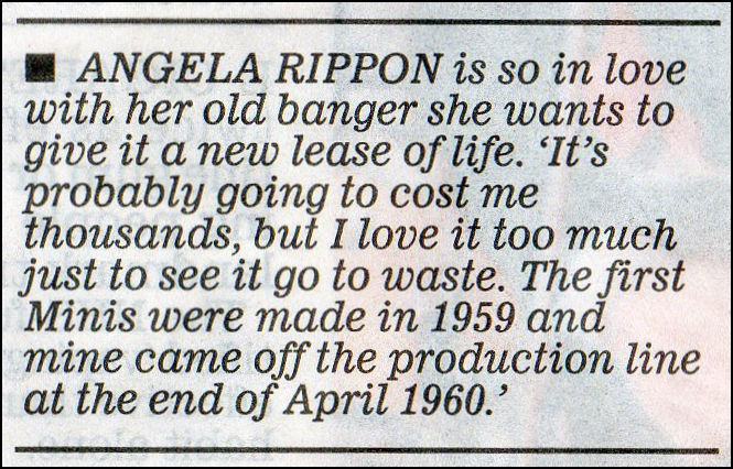 Newspaper article saying Angela Rippon wants her Mini restored