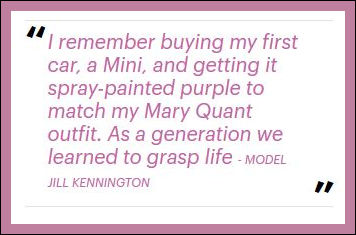 Mary Quant Model Jill Kennington sprays her Mini purple