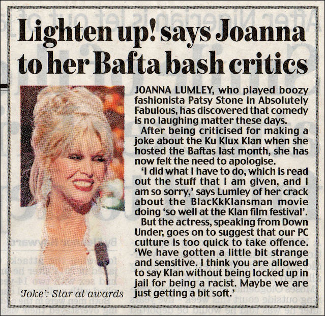 Joanna Lumley speaks out against polirical correctness