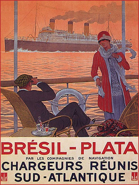 1920s Travel Poster of a Luxury Liner