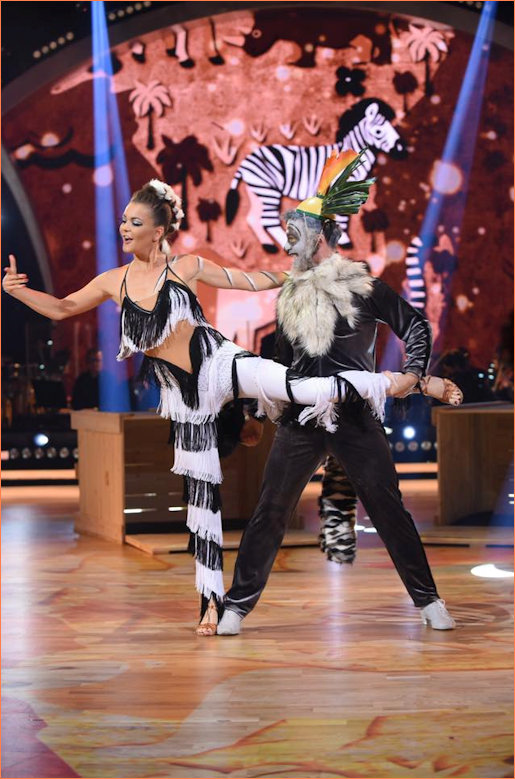 Aga and Steffano as Madagascar characters Marty and King Julien dancing the cha cha cha