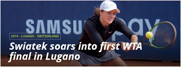 WTA Header for Iga's first Final