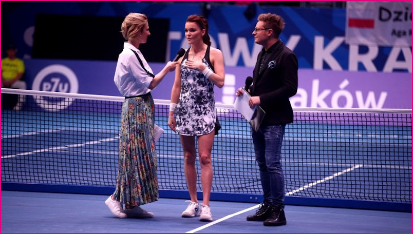 Aga on Court being interviewed at the Benefis