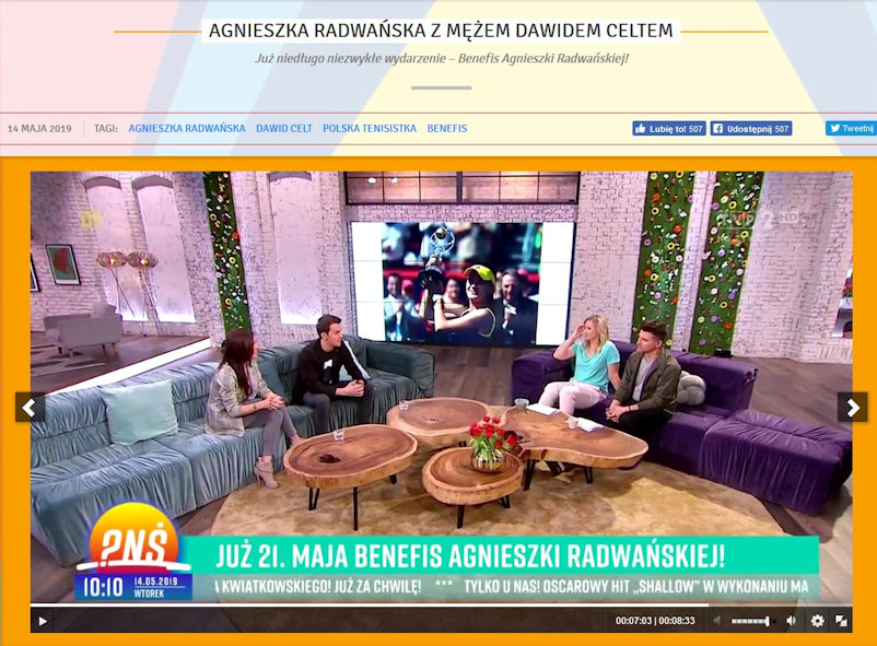 Aga and Dawid on the Sofa on Polish Television's 'Breakfast Question Time.' One of her major victories provides the backdrop to the interview and the date promoting Aga's forthcoming 'Benefit' is displayed on screen