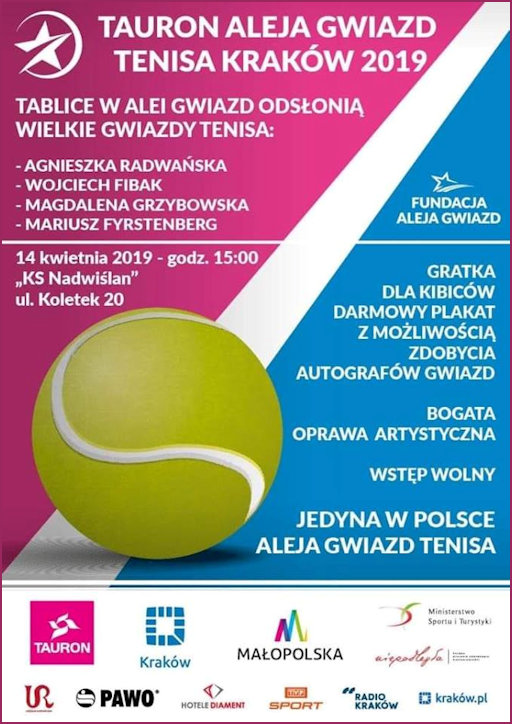 Poster promoting the opening of Tennis Star Alley