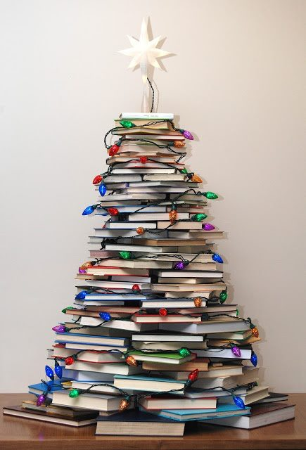 A Christmas Tree made up of books