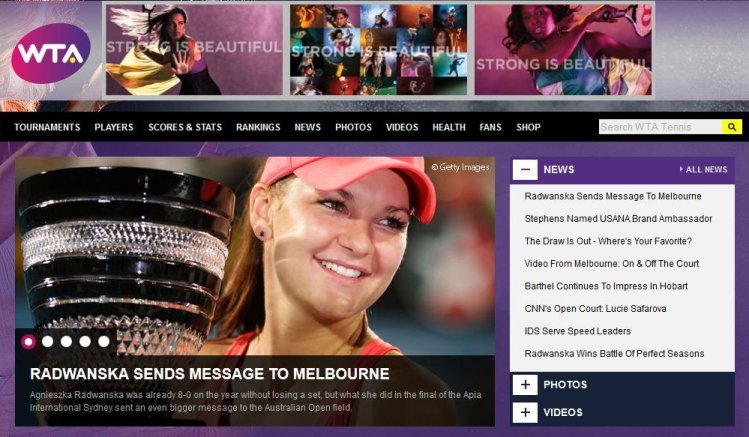 Screen Dump of WTA page