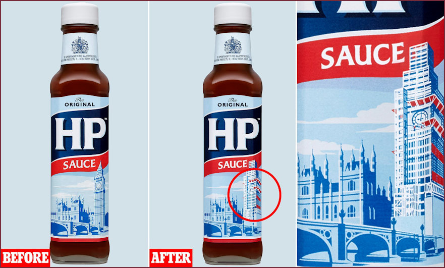 HP Sauce showing the changes of lable