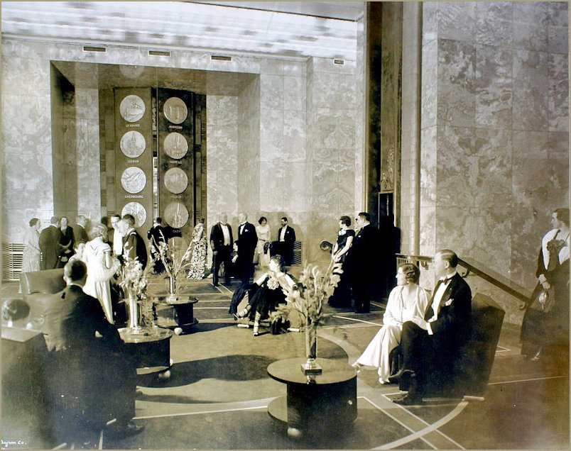 Guests of the SS Normandie chat before dinner in the foyer