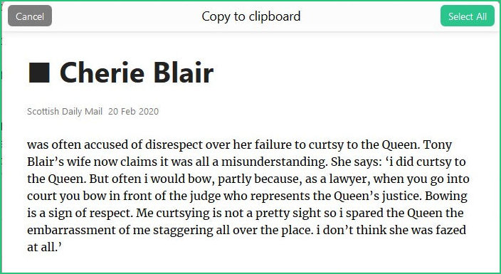 Cherry Blair excusing her appalling manners