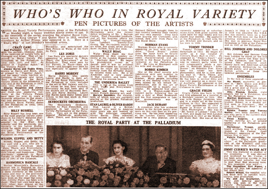The Stage 1947 - Who's Who in the Royal Variety
