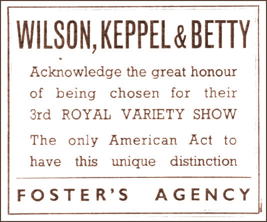 Wilson Kepple and Betty at their 3rd Royal Variety Performance