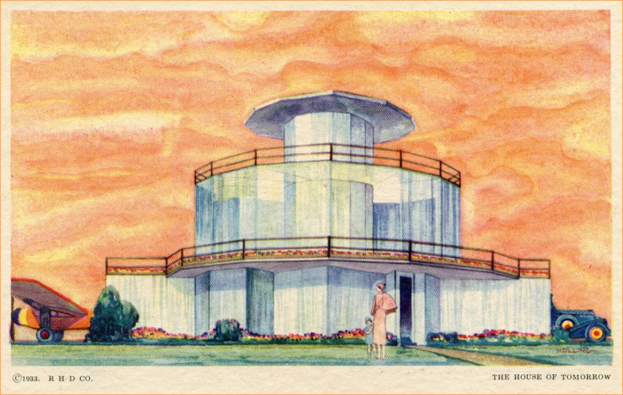 Postcard of  the 1933 Chicago World's Fair House of Tomorrow