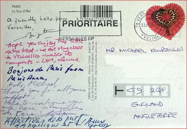 Reverse signed postcard sent to Michael K