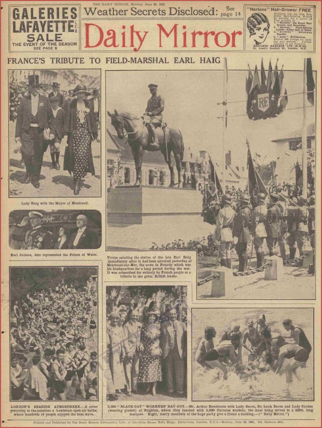 Black Cat Factory Summer outing on front page of the Daily Mirror 1931