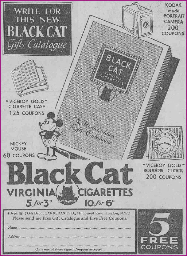 Mickey Mouse Coupons in conjunction with Black Cat Cigarettes