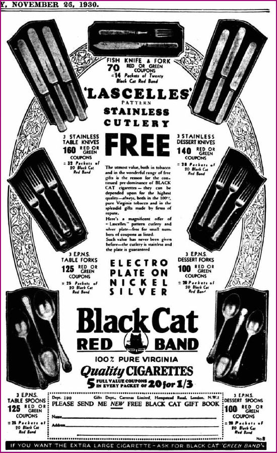 Lascelles Cutlery Offer with Black Cat Cigarettes