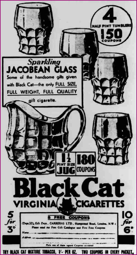 Jacobean Glass offer with Black Cat Cigarettes