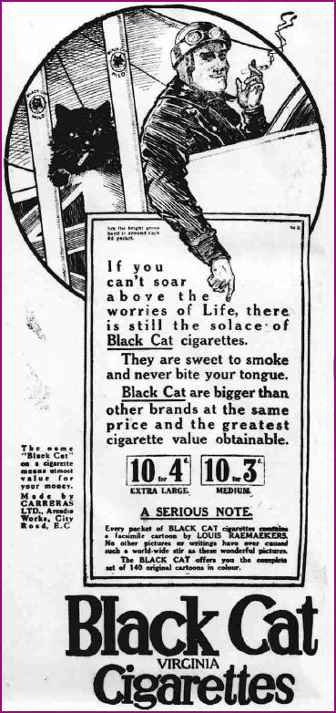 Advert for Black Cat Cigarettes 1916