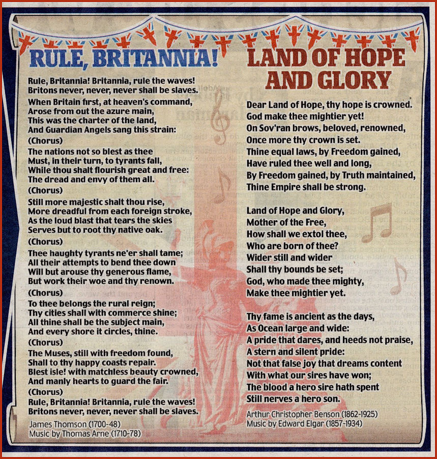 Rule Brittannia and Land of Hope and Glory words