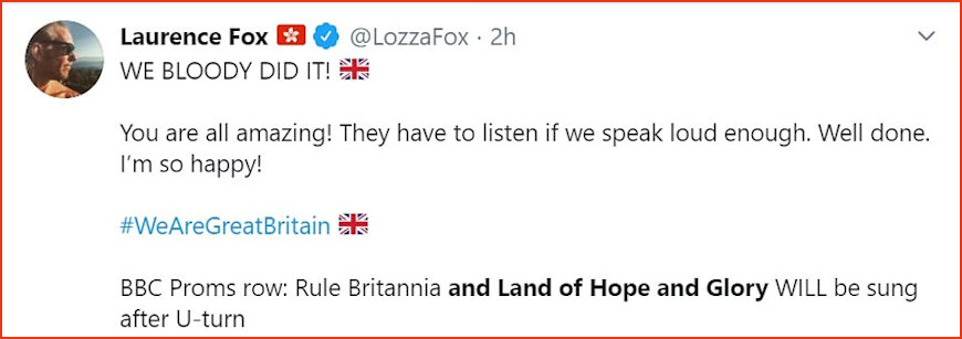 Tweet sent out by Laurence Fox