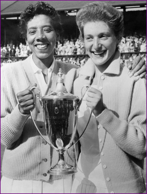 Angela Buxton and Althea Gibson after winning the 1956 Wimbledon Womens Doubles Championship
