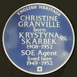 Blue Plaque awareded to Krystyna Skarbek 2020