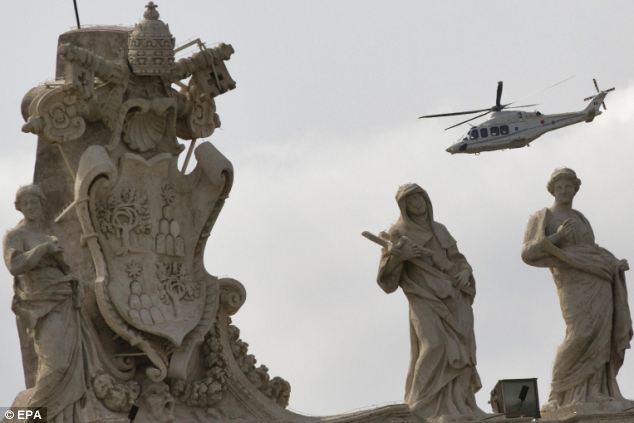 Papal helicopter above St. Peters
