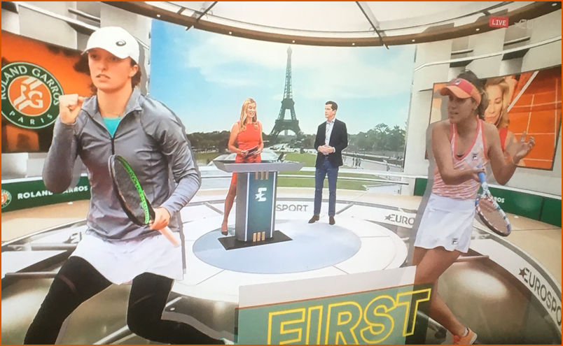Iga and Celebs in the Eurosport Studio