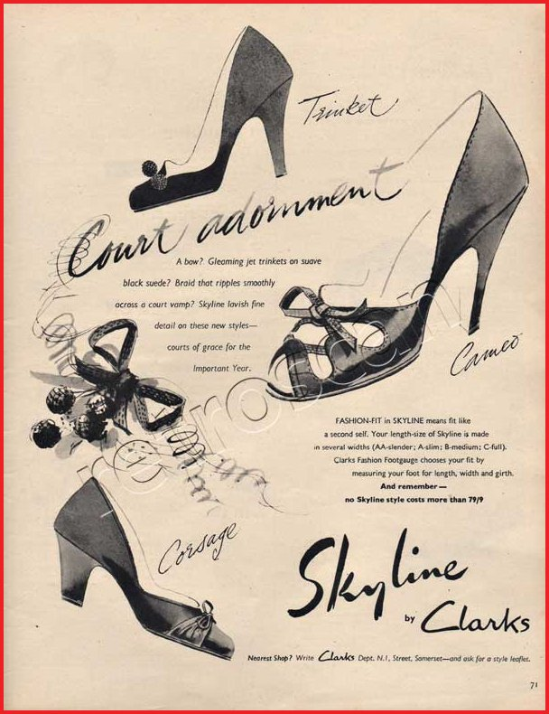 Clarks Shoes Ad 1950s