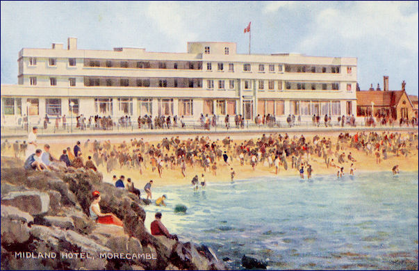 Painted image of the Midland Hotel from the beach