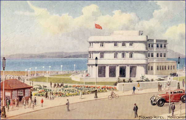 Sude view of the Midland Hotel in a painted image