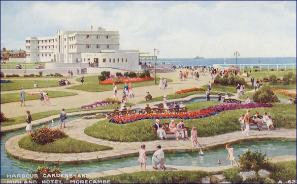 Painted image of the Midland Hotel from the Gardens