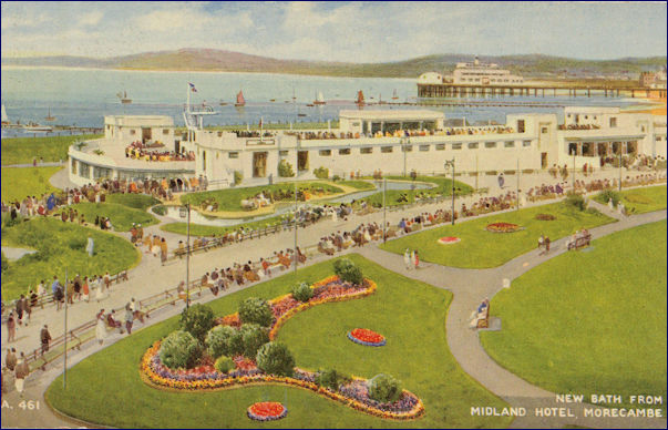 Painted image of the Super Swimming stadium from the Midland Hotel