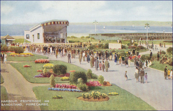 Painted image of the Bandstand at the side of the Midland Hotel