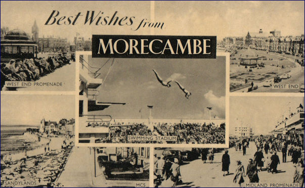 Multi-view of Morecambe with the super swimming stadium