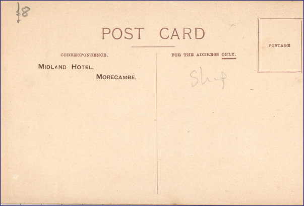 Rear of RMS Olympic with Midland Hotel Stamp