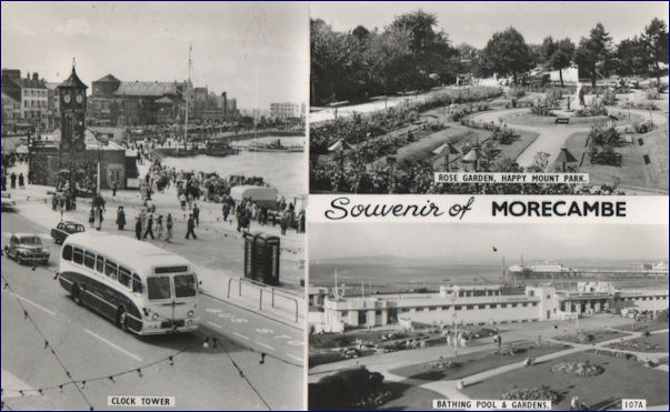 Souvenir of Morecambe featuring a 50s style bus